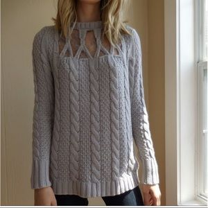 Lauren Conrad Lace Insert Cable Knit Sweater M